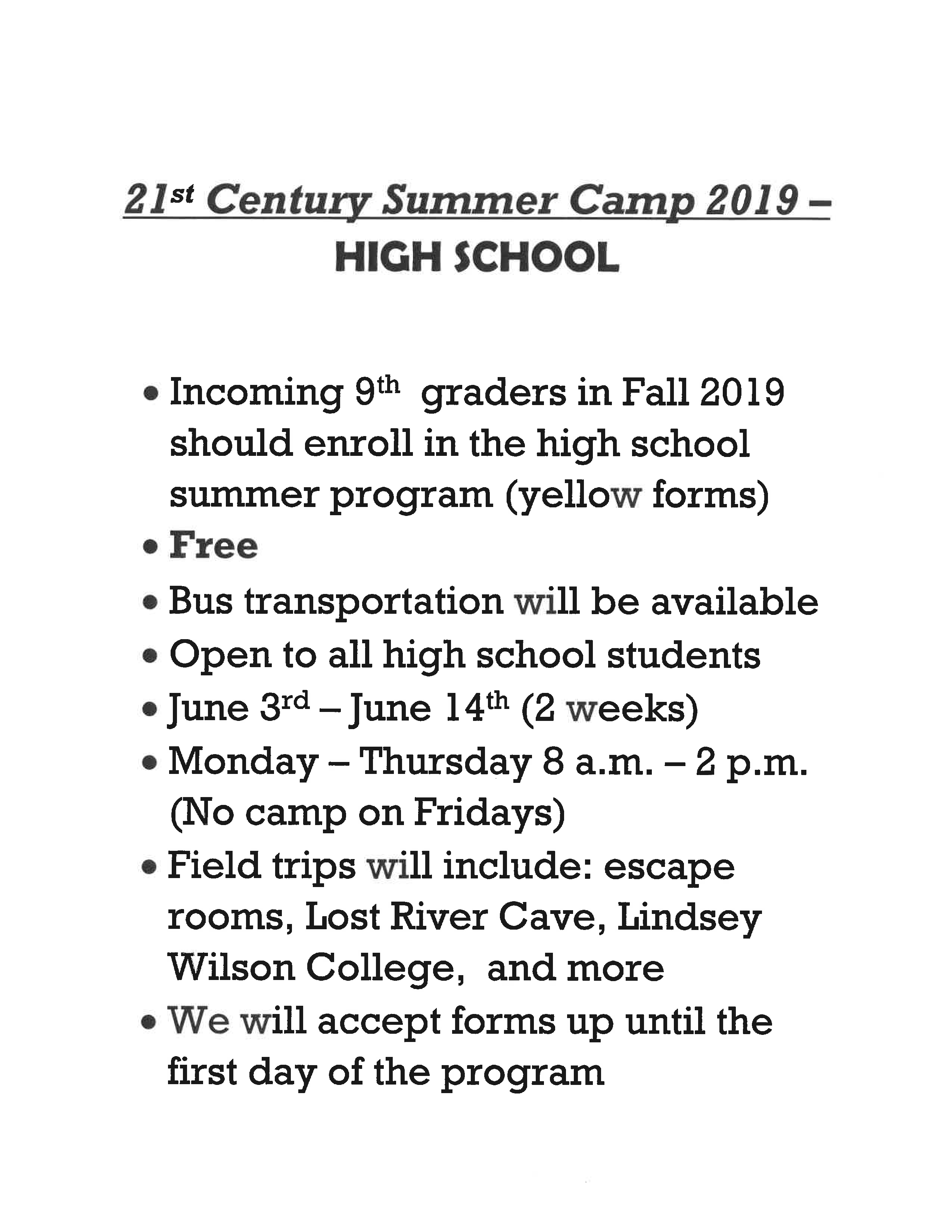 21st Century Summer Program