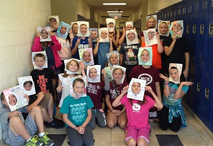 Adjective Faces--students describe themselves with adjectives